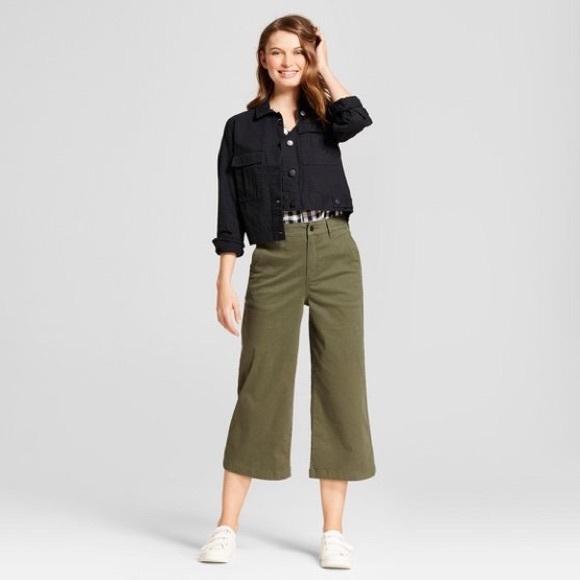 eb695bb3fef A New Day Women s Denim Wide Leg Crop Pants Olive